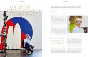 Galerieräume. Editorialdoppelseite, Belegexemplar mit Kunst, Galerieräumen und blonder kurzhaariger Frau.